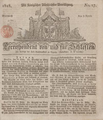 Correspondent von und fuer Schlesien. 1828, No. 27 (2 April) + dod.