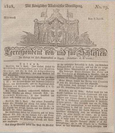 Correspondent von und fuer Schlesien. 1828, No. 29 (9 April) + dod.