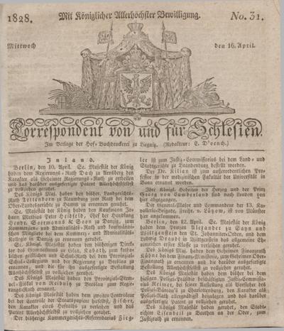 Correspondent von und fuer Schlesien. 1828, No. 31 (16 April) + dod.