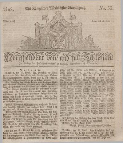 Correspondent von und fuer Schlesien. 1828, No. 33 (23 April) + dod.