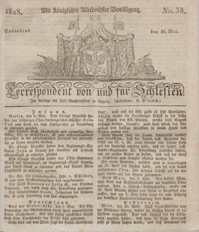 Correspondent von und fuer Schlesien. 1828, No. 38 (10 Mai) + dod.