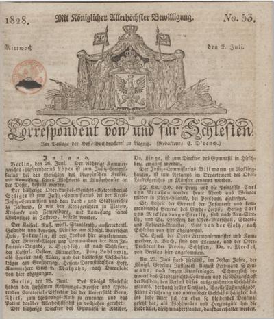 Correspondent von und fuer Schlesien. 1828, No. 53 (2 Juli) + dod.