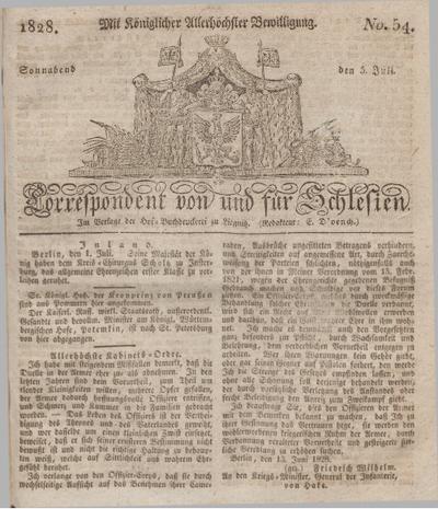 Correspondent von und fuer Schlesien. 1828, No. 54 (5 Juli) + dod.