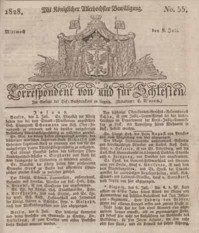 Correspondent von und fuer Schlesien. 1828, No. 55 (9 Juli) + dod.