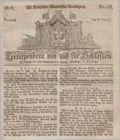 Correspondent von und fuer Schlesien. 1828, No. 63 (6 August) + dod.