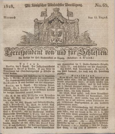 Correspondent von und fuer Schlesien. 1828, No. 65 (13 August) + dod.