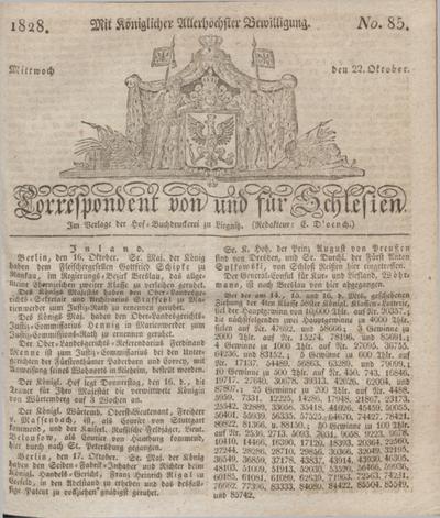 Correspondent von und fuer Schlesien. 1828, No. 85 (22 October) + dod.