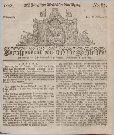 Correspondent von und fuer Schlesien. 1828, No. 87 (29 October) + dod.