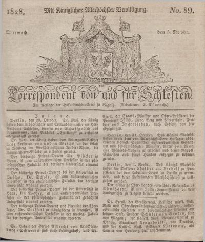 Correspondent von und fuer Schlesien. 1828, No. 89 (5 November) + dod.