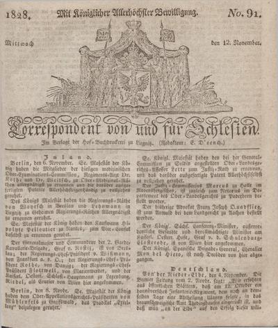 Correspondent von und fuer Schlesien. 1828, No. 91 (12 November) + dod.