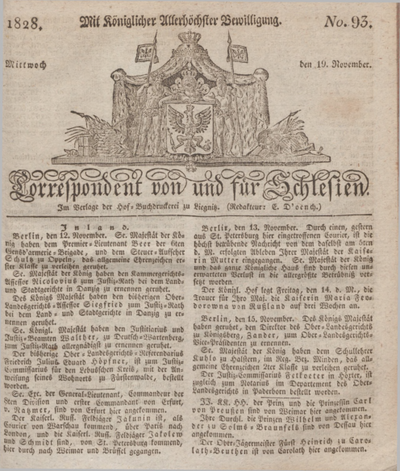 Correspondent von und fuer Schlesien. 1828, No. 93 (19 November) + dod.