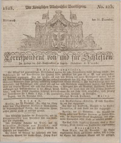 Correspondent von und fuer Schlesien. 1828, No. 105 (31 December) + dod.