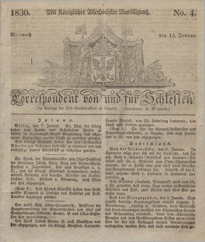 Correspondent von und fuer Schlesien. 1830, No. 4 (13 Januar) + dod.
