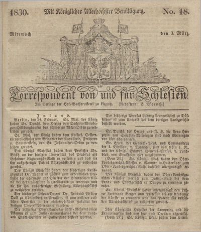 Correspondent von und fuer Schlesien. 1830, No. 18 (3 März) + dod.