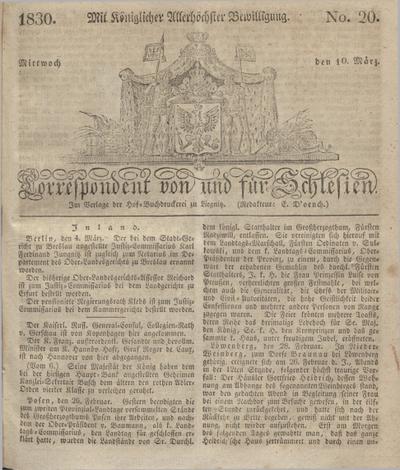 Correspondent von und fuer Schlesien. 1830, No. 20 (10 März) + dod.