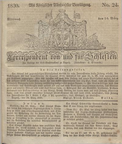 Correspondent von und fuer Schlesien. 1830, No. 24 (24 März) + dod.