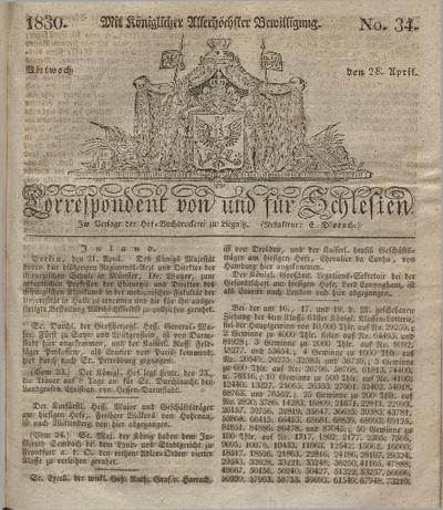 Correspondent von und fuer Schlesien. 1830, No. 34 (28 April) + dod.