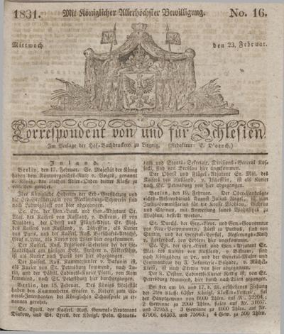 Correspondent von und fuer Schlesien. 1831, No. 16 (23 Februar) + dod.