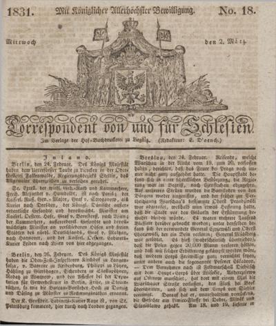 Correspondent von und fuer Schlesien. 1831, No. 18 (2 März) + dod.