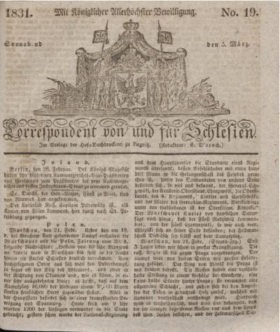 Correspondent von und fuer Schlesien. 1831, No. 19 (5 März) + dod.