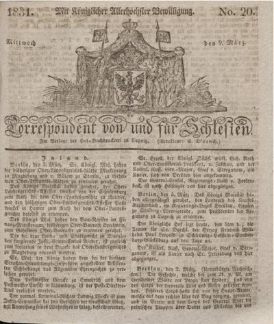 Correspondent von und fuer Schlesien. 1831, No. 20 (9 März) + dod.