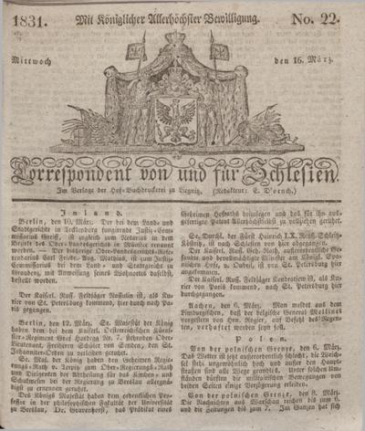 Correspondent von und fuer Schlesien. 1831, No. 22 (16 März) + dod.