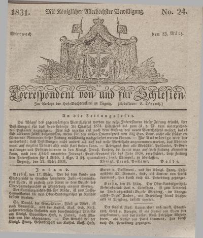 Correspondent von und fuer Schlesien. 1831, No. 24 (23 März) + dod.