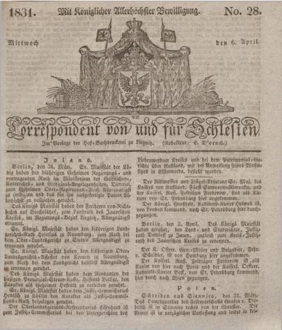 Correspondent von und fuer Schlesien. 1831, No. 28 (6 April) + dod.