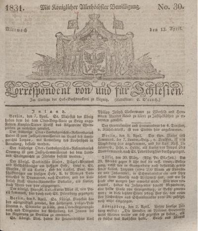 Correspondent von und fuer Schlesien. 1831, No. 30 (13 April) + dod.