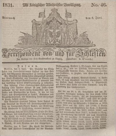Correspondent von und fuer Schlesien. 1831, No. 46 (8 Juni) + dod. + wkładka