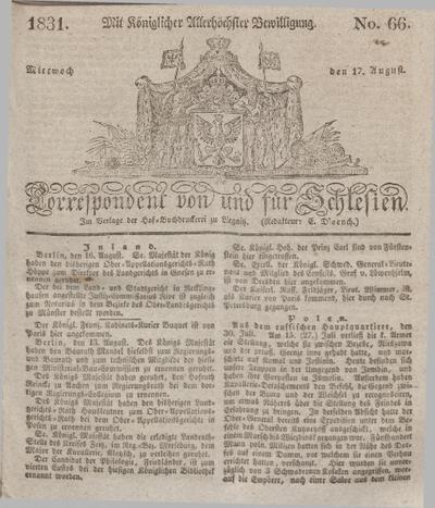 Correspondent von und fuer Schlesien. 1831, No. 66 (17 August) + dod.