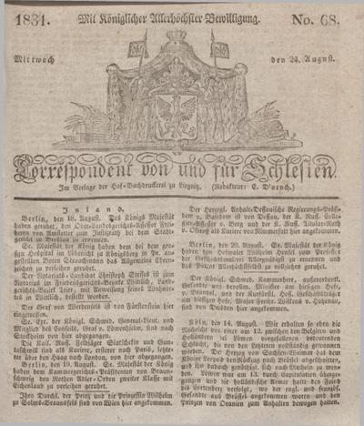 Correspondent von und fuer Schlesien. 1831, No. 68 (24 August) + dod.