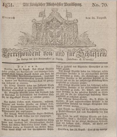 Correspondent von und fuer Schlesien. 1831, No. 70 (31 August) + dod.
