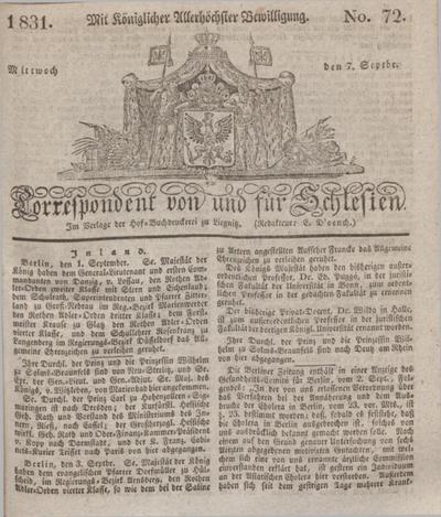 Correspondent von und fuer Schlesien. 1831, No. 72 (7 September) + dod.