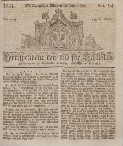 Correspondent von und fuer Schlesien. 1831, No. 94 (23 November) + dod.
