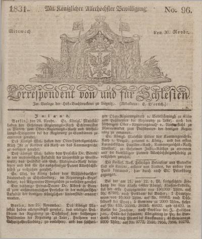 Correspondent von und fuer Schlesien. 1831, No. 96 (30 November) + dod.