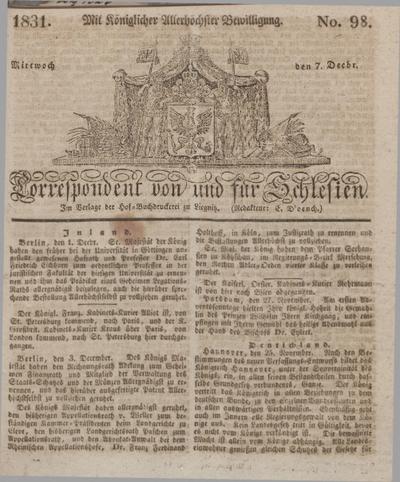 Correspondent von und fuer Schlesien. 1831, No. 98 (7 December) + dod.