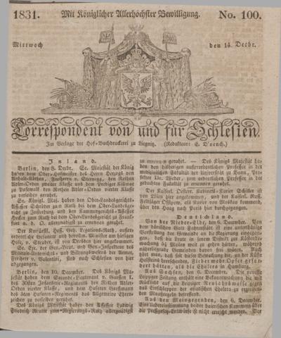 Correspondent von und fuer Schlesien. 1831, No. 100 (14 December) + dod.