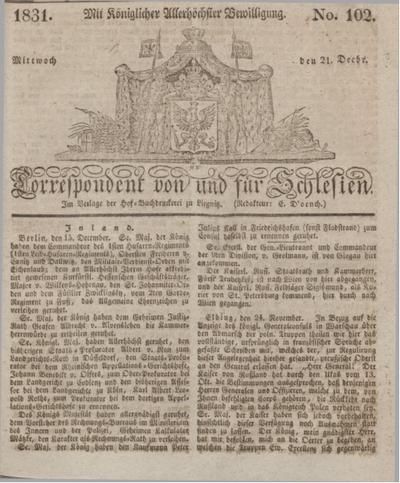 Correspondent von und fuer Schlesien. 1831, No. 102 (21 December) + dod.