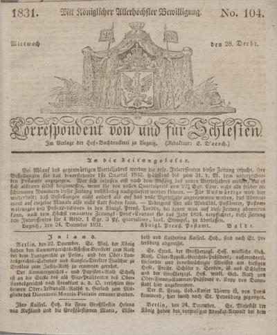 Correspondent von und fuer Schlesien. 1831, No. 104 (28 December) + dod.