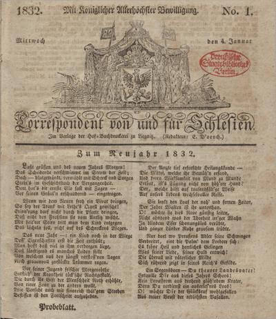 Correspondent von und fuer Schlesien. 1832, No. 1 (4 Januar) + dod.