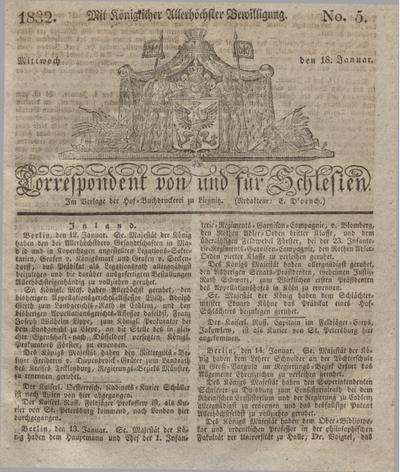 Correspondent von und fuer Schlesien. 1832, No. 5 (18 Januar) + dod.