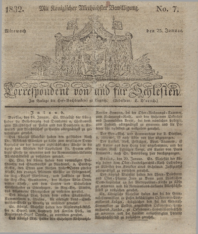 Correspondent von und fuer Schlesien. 1832, No. 7 (25 Januar) + dod.