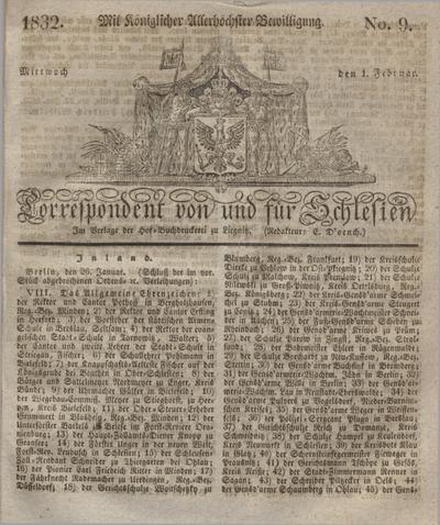 Correspondent von und fuer Schlesien. 1832, No. 9 (1 Februar) + dod.