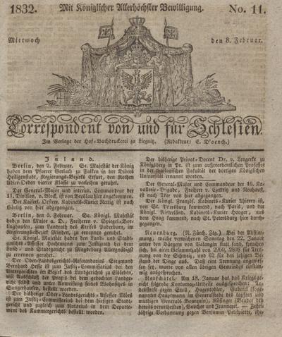 Correspondent von und fuer Schlesien. 1832, No. 11 (8 Februar) + dod.