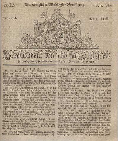 Correspondent von und fuer Schlesien. 1832, No. 29 (11 April) + dod.