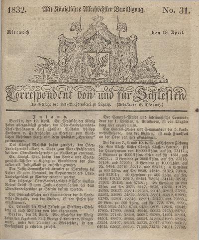 Correspondent von und fuer Schlesien. 1832, No. 31 (18 April) + dod.
