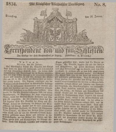 Correspondent von und fuer Schlesien. 1834, No. 8 (28 Januar) + dod.