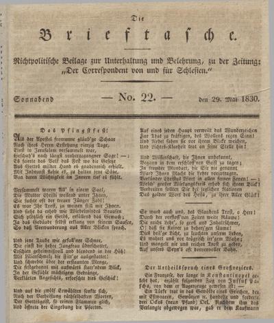 """Die Brieftasche : Nichtpolitische Beilage zur Unterhaltung und Belehrung, zu der Zeitung: """"Der Correspondent von und fuer Schlesien"""". 1830, No. 22 (29 Mai) + wkładka"""