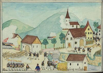 Malerei   Kadettenausmarsch 1871, Verteidigung von Ziefen